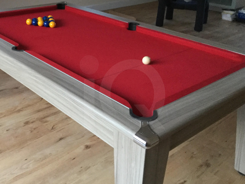 7ft Gatley Traditional Driftwood Pool Table with Red Cloth