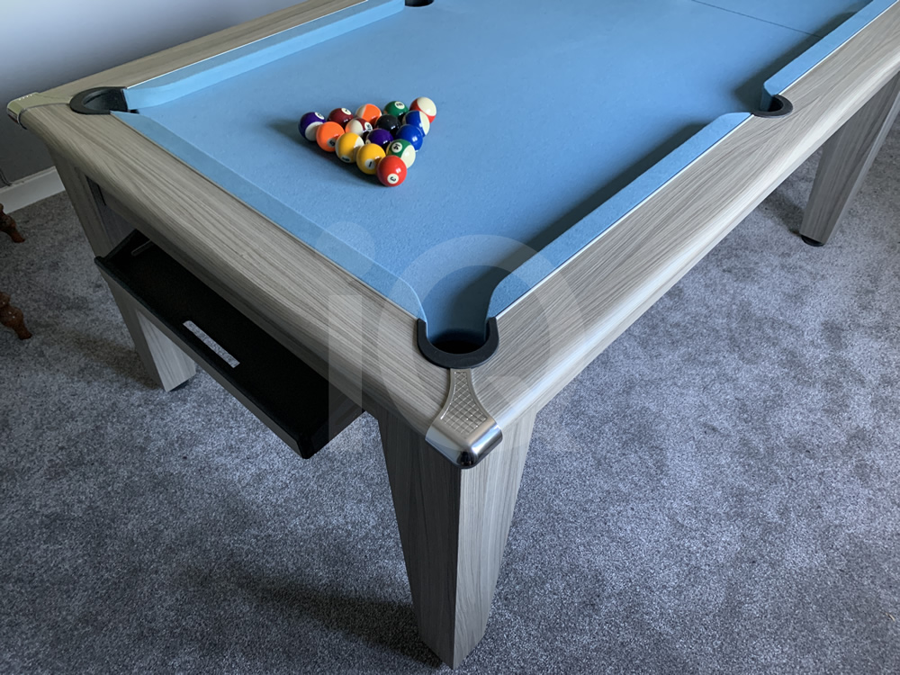 Gatley Classic Driftwood Pool Dining Table with Powder Blue Cloth 17