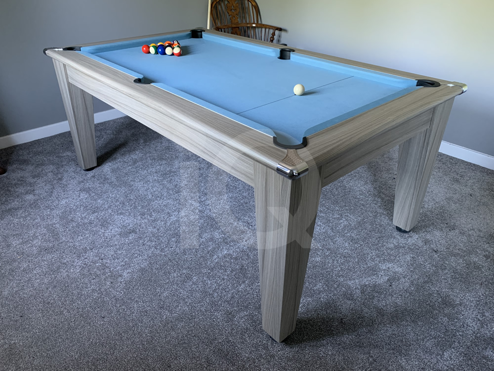 Gatley Classic Driftwood Pool Dining Table with Powder Blue Cloth 14