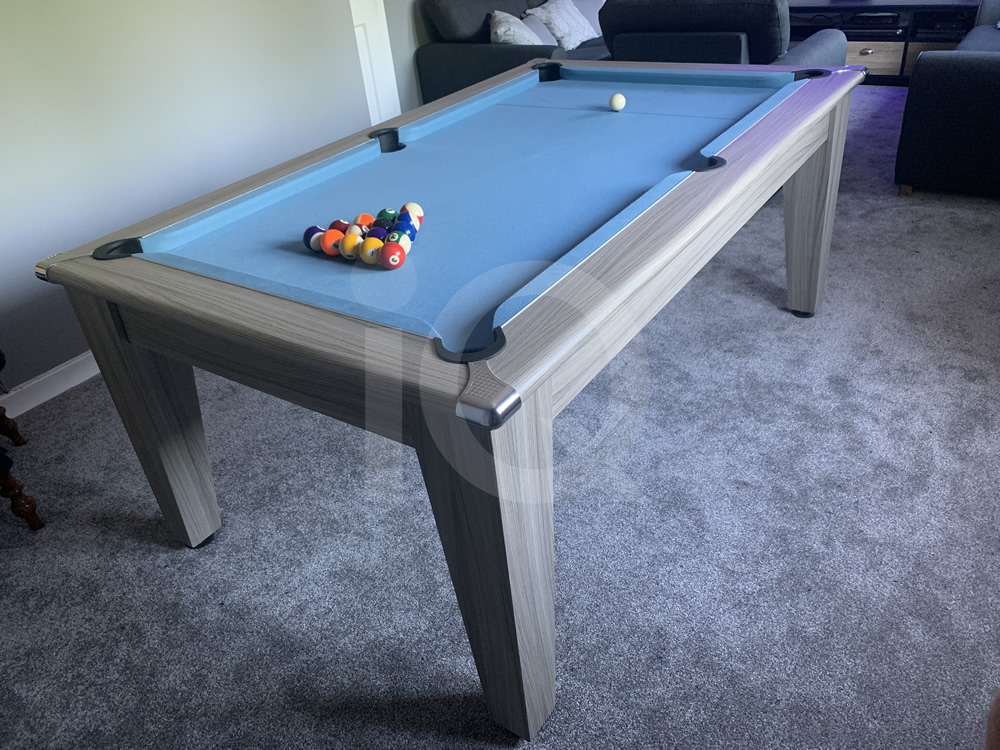 Gatley Classic Driftwood Pool Dining Table with Powder Blue Cloth 13