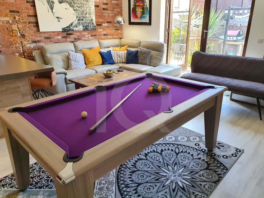 Gatley 6ft Pool Dining Table Purple Cloth 2