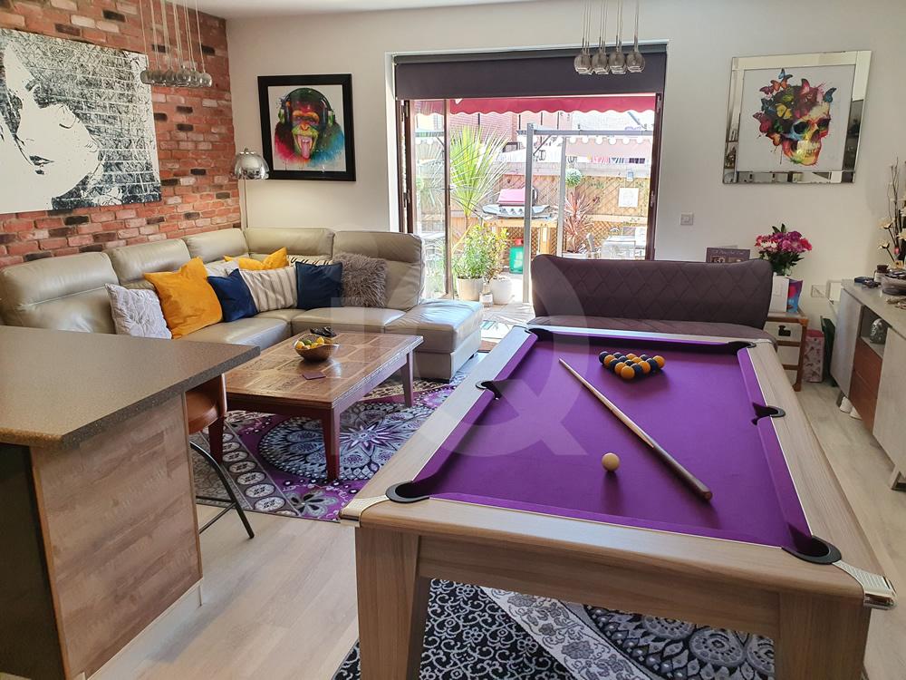 Gatley 6ft Pool Dining Table Purple Cloth 4