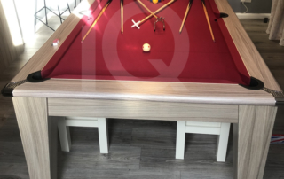 7ft Gatley Driftwood Pool Dining Table with Burgundy Cloth 1